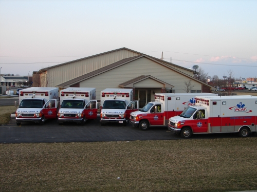 PCAT office with our ambulance fleet